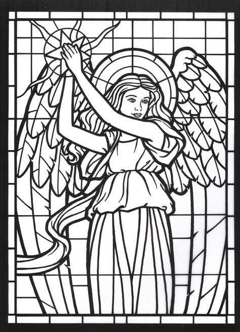 Amazing Angels Stained Glass Coloring Book | stained glass | Colores ...