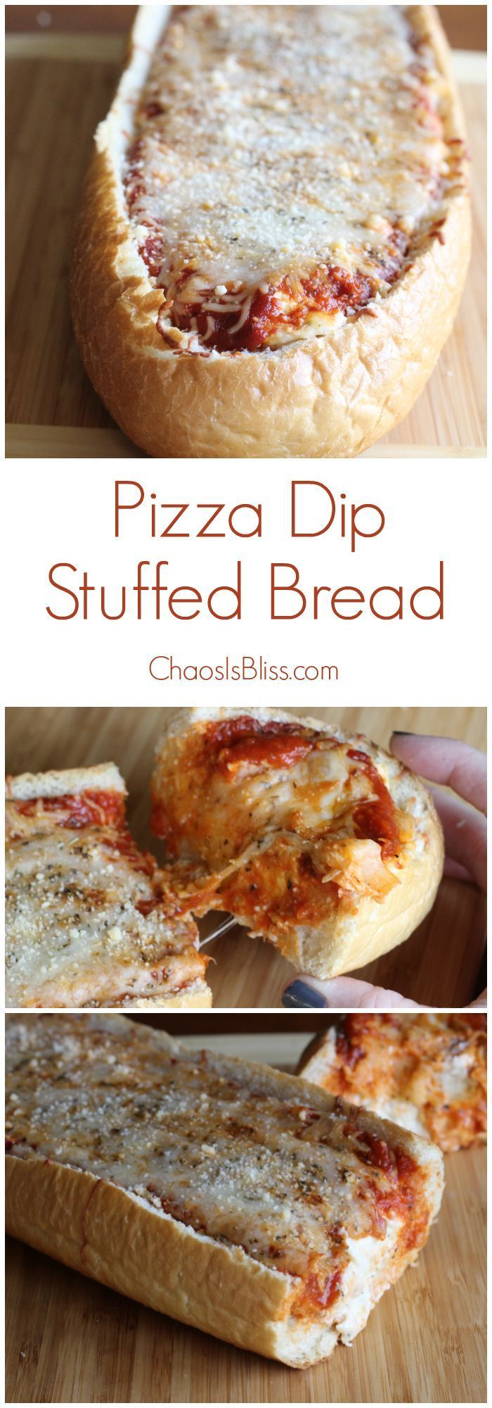 Next time you need a party appetizer, try Pizza Dip Stuffed Bread! Savory and very filling appetizer recipe.
