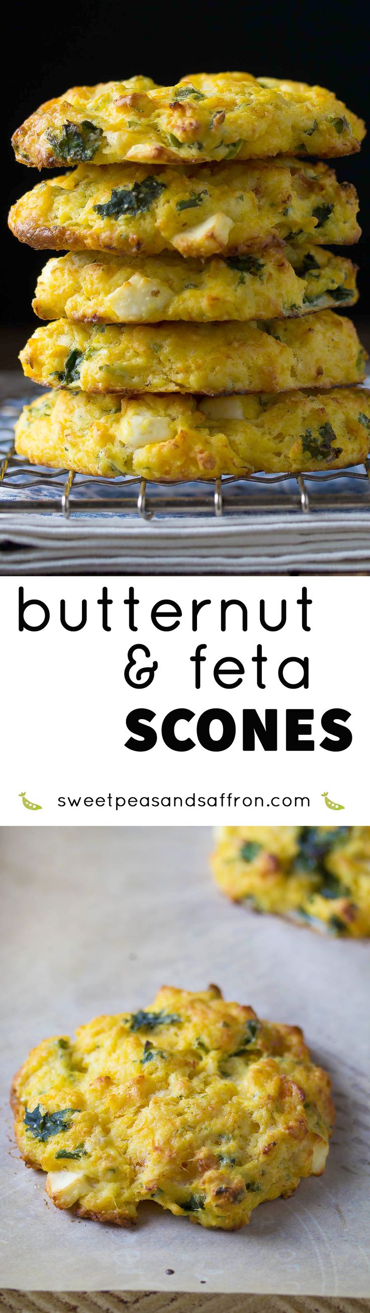 This healthier scone recipe contains an entire cup of pureed butternut squash and spinach,  as well as salty feta cheese.  A delicious savory twist on a traditional scone recipe!