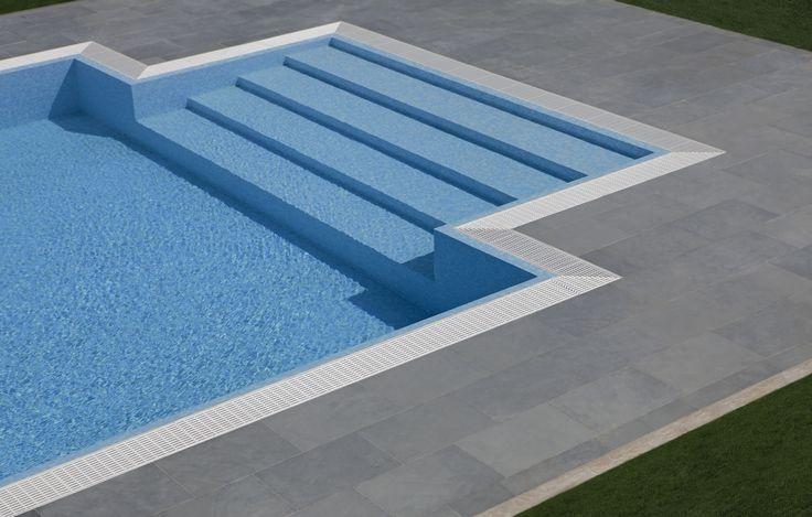 #solarium realizzato con #ardesia #grigia #swimming #pool #relax #real #stone #flooring #outdoor