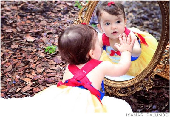 Snow White Costume: red blue & yellow lined tutu dress gold
