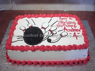 So many bowling cakes posted online are complicated works of fondant. If you want something simpler, try making designs like this.