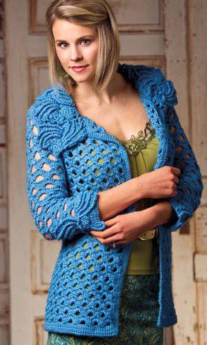 jaqueta de flor de crochê