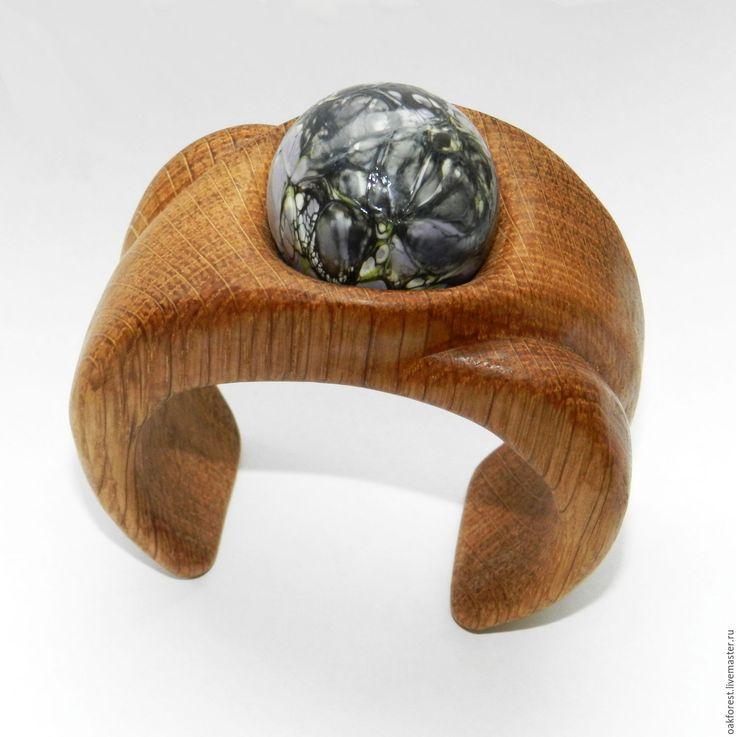 Купить Браслет из дерева с авторской бусиной из стекла (дуб) - браслет из дерева, браслет из дуба