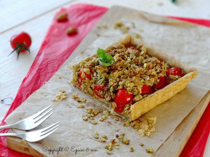 Epices & moi Tarte tomates crumble pesto 1'