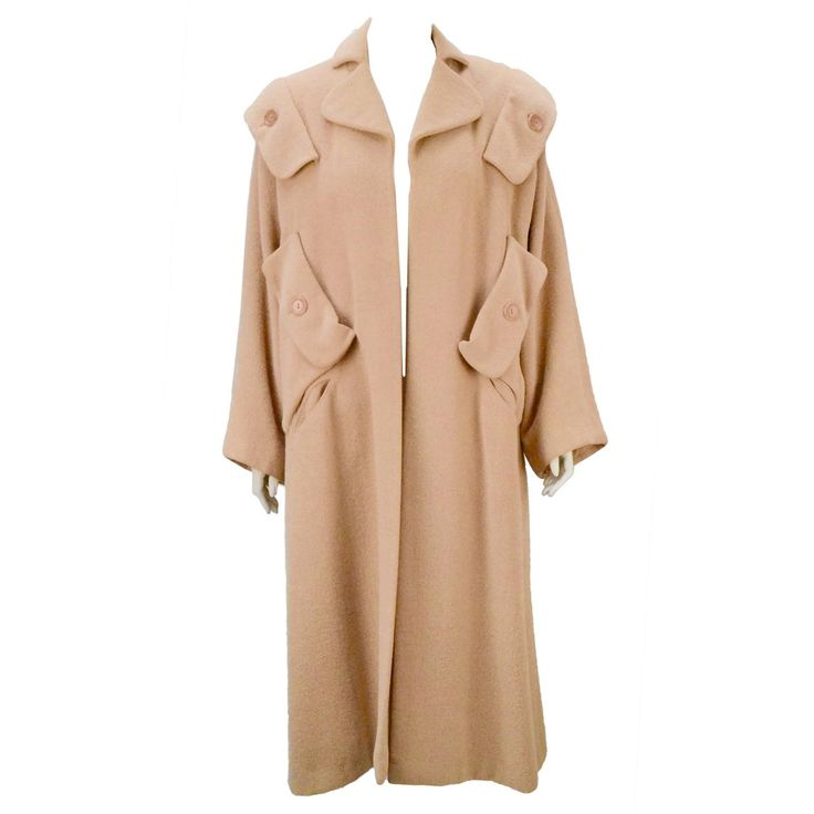 Important 1940's Gilbert Adrian Blush Pink Wool Coat  | From a collection of rare vintage coats and outerwear at https://www.1stdibs.com/fashion/clothing/coats-outerwear/