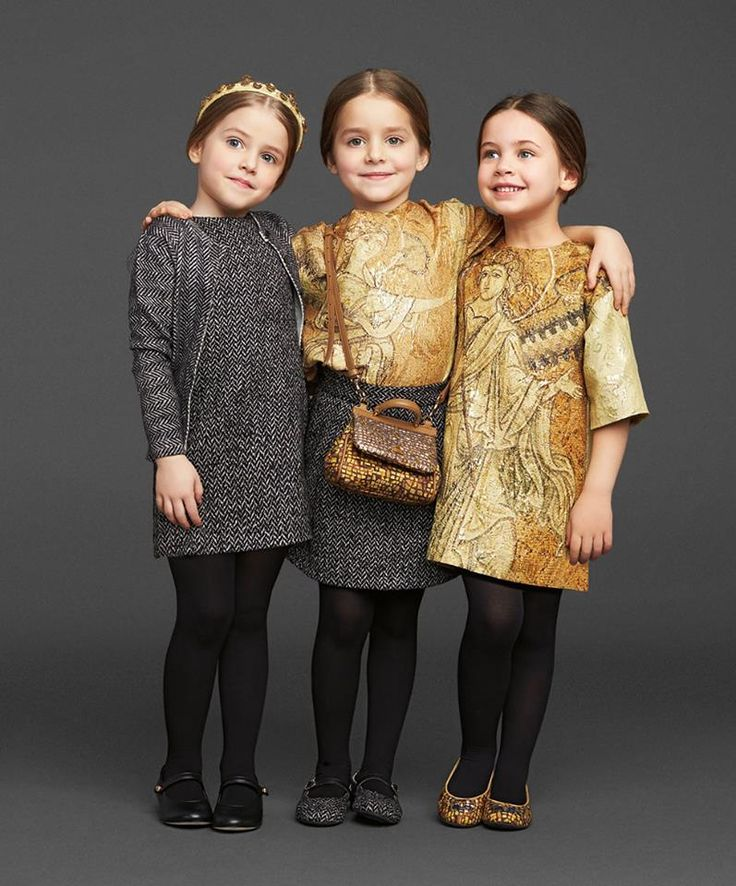 I'm dying, they look like little Italian women- Dolce & Gabbana Winter 2014 Kids collection