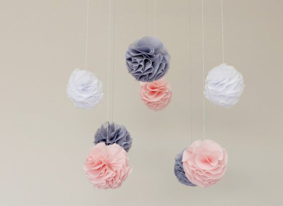 Baby Mobile  Pink Grey and White Pom Poms by MaxandMeHomewares on Etsy