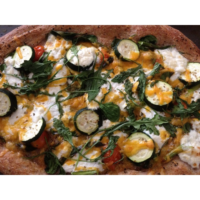 Focaccia Pizza With Zucchini, Tomatoes And Arugula Recipes ...