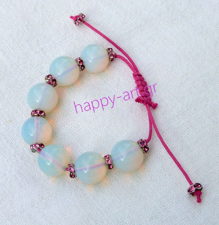 Semi-precious stones. Moonstone bracelet, rings of strass and macrame closure.  www.happy-art.gr