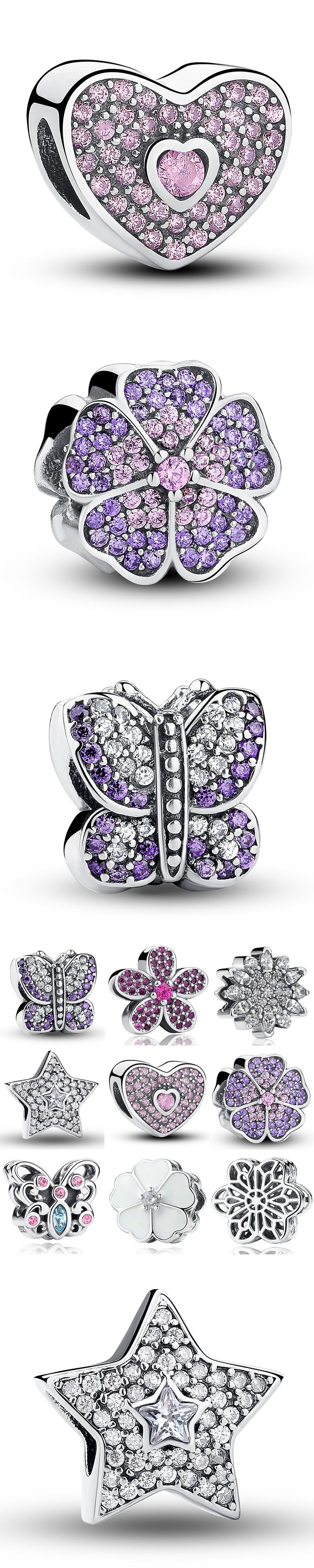 Silver 925 original 925 Sterling Silver Charms Snowflake Star  Purple Flower Butterfly Charm Fit Pandora Bracelet