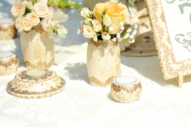 Victorian Glamour Wedding Decor - Gold & Ivory - Elegant, Antique, Vintage, Handpainted, Handmade -Table Setting - by Satori Art & Event Design