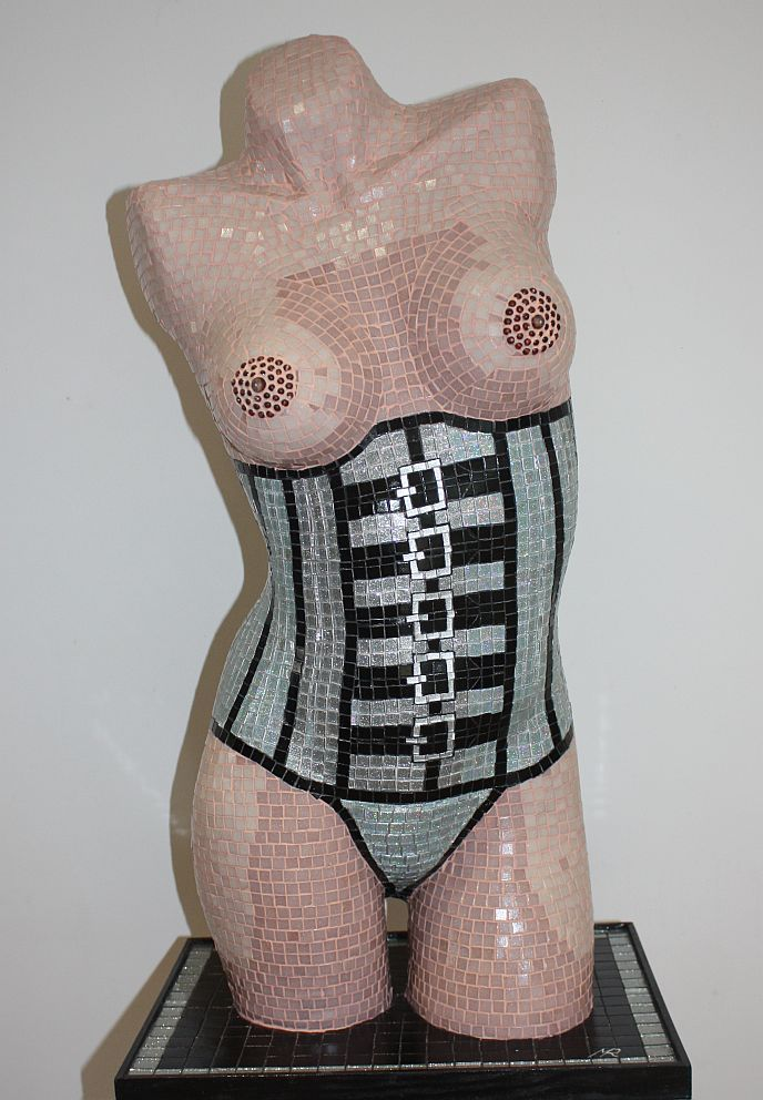 'Silver Corset' Glass mosaic sculpture by artist Mark Roberts