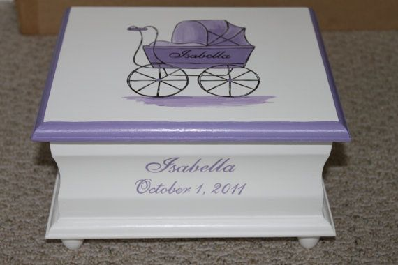 Lavender Baby Carriage keepsake memory box personalized