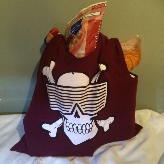 Large Maroon 80's Sunglasses Skull Upcycled Tote by TheMossyBank