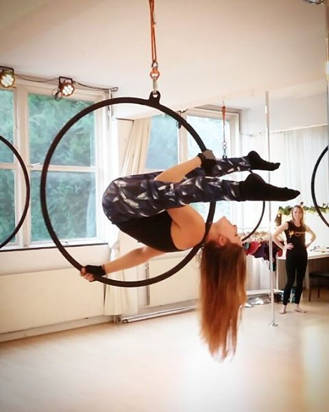 Shouldermount in hoop: I totally learned this last night! Easy performance trick.
