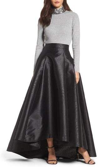 Eliza J High/Low Moire Taffeta Ball Skirt