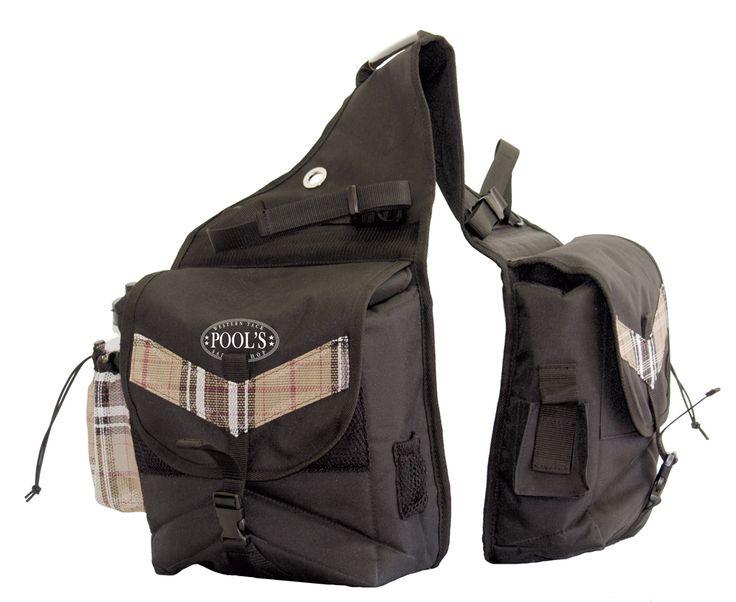 Bisaccia Pool's posteriore in nylon imbottito con inserti navajo, taschini porta oggetti e anelli per aggancio alla sella.