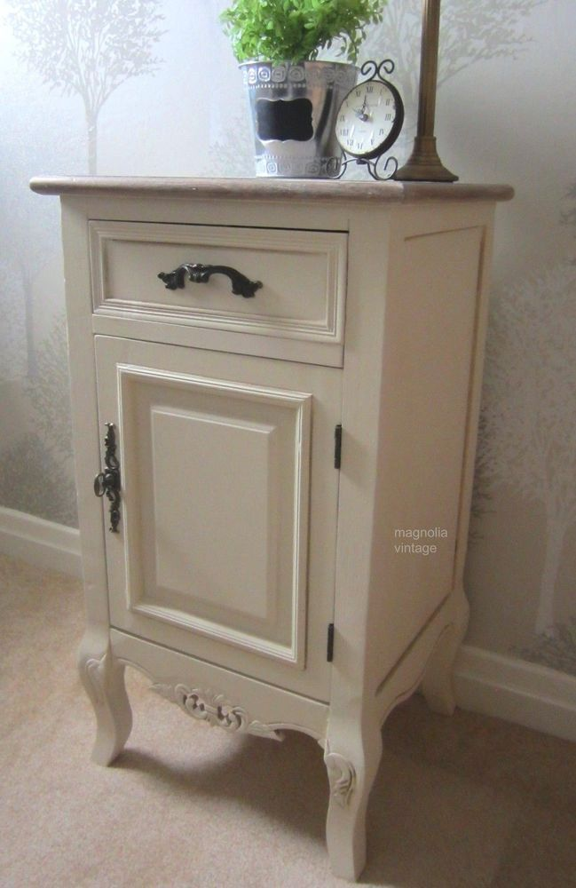Cream Bedside Table Shabby Chic Cabinet with Drawer Vintage Chic