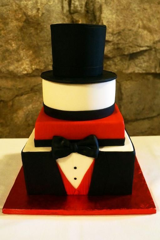 Grooms Black White Amp Red Tux Cake Project On Craftsy Com