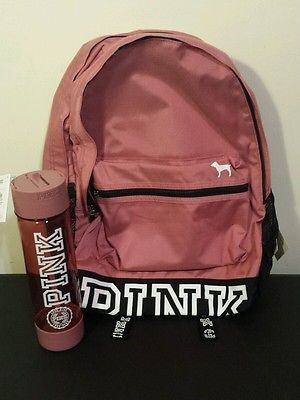 Victoria's Secret PINK Campus Backpack & Water Bottle Soft Begonia Victorias