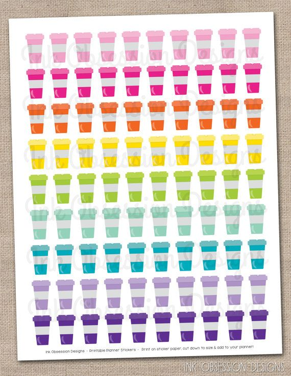 starbucks create your own tumbler blank template - printable coffee cups planner stickers instant download