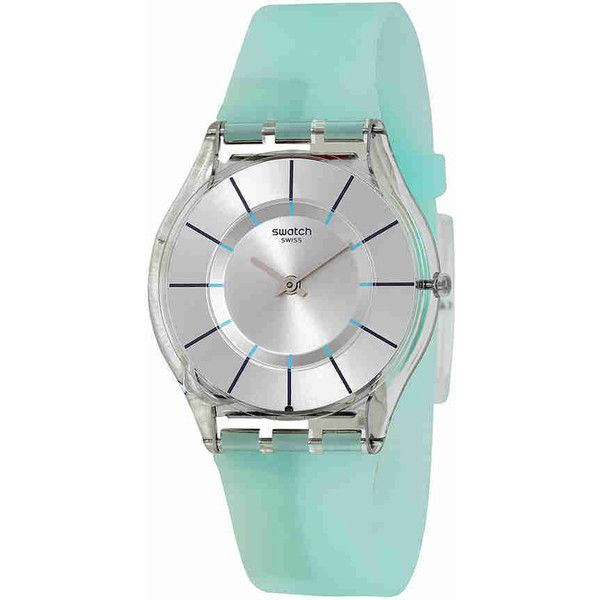 Swatch Summer Breeze Silver Dial Blue Silicone Ladies Watch ($76) ❤ liked on Polyvore featuring jewelry, watches, bezel watches, round watches, silver dial watches, water resistant watches and see through watches