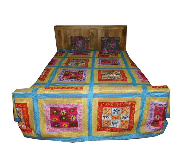 INDIAN FLORAL KANTHA PATCHWORK BEDDING WALL TAPESTRY WALL CURTAIN BED SHEET GO14 #Vintage