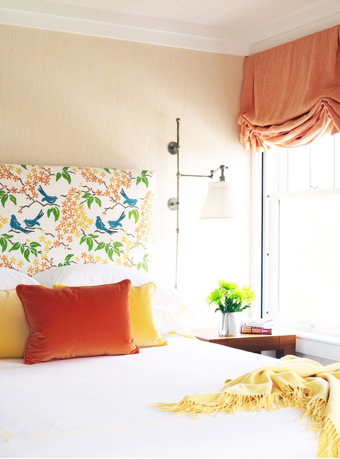 Happy Bedroom with patterned headboard: Lamps, Pillows Covers, Color, Headboards, Interiors, Lakes, Master Bedrooms, Fabrics, Guest Rooms