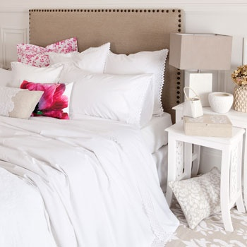 Olivia Bed Linen - Bed Linen - BEDROOM - i want this. But blue splash pillows!