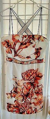 Suchin and Babi Sundress Polyester Burnt Orange Flower Print Excellent Pre Owned