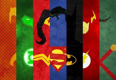 Justice League. aqua man,green lantern,wonder woman,superman,batman,flash,and Martian manhunter