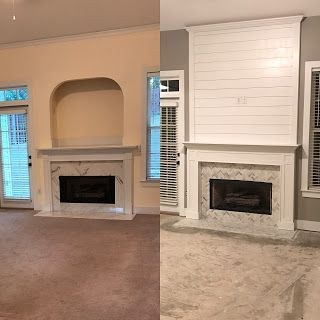 Fireplace makeover: Enclosed TV niche, added a larger mantle and installed shiplap above mantle. Herringbone fireplace surround.