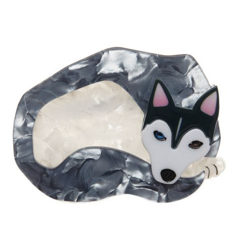 "Erstwilder Limited Edition Sammy Snow Dog Brooch. ""I'm sure you could do what I do if you had a thick double-coat and an incredible work ethic. Then again..."""