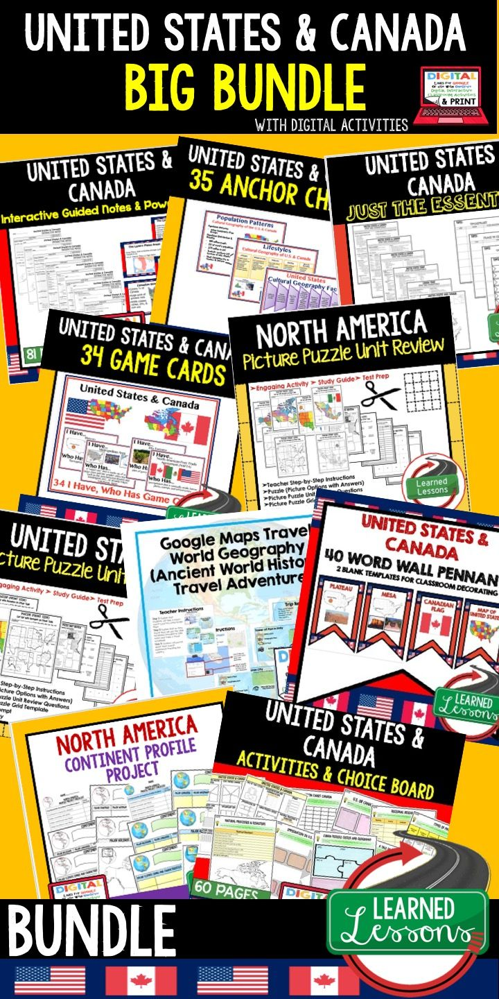 World Geography Lessons, World Geography Activities, Middle School Teacher, High School Teacher, United States Anchor Charts, Unites States Notebooking, United States PowerPoints, United States Guided Notes, United States Profile, United States Game Cards, United States Activities, United States Choice Board, United States Google Classroom, United States Digital Graphic Organizers, United States Word Wall, United States Outline, North America Activities, Canada Anchor Charts, United States…