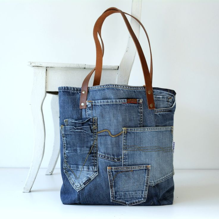 denim canvas tote bag with lots of pockets jeans bag