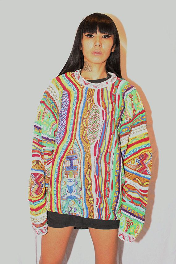 Insane COOGI Sweater with Snakes and Cows - Bright Colors! #coogi #hiphop #streetwear #rare