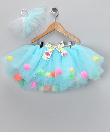 Take a look at this Aqua Pom-Pom Tutu & Hair-Tie - Infant, Toddler & Girls by Easter Boutique on #zulily today!
