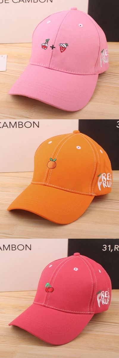 Brand New Adult Solid Fruit Embroidery Baseball Caps Cotton Outdoor Unisex Sun Hat Casual Adjustable Hip-hop Hat & Snapback Caps