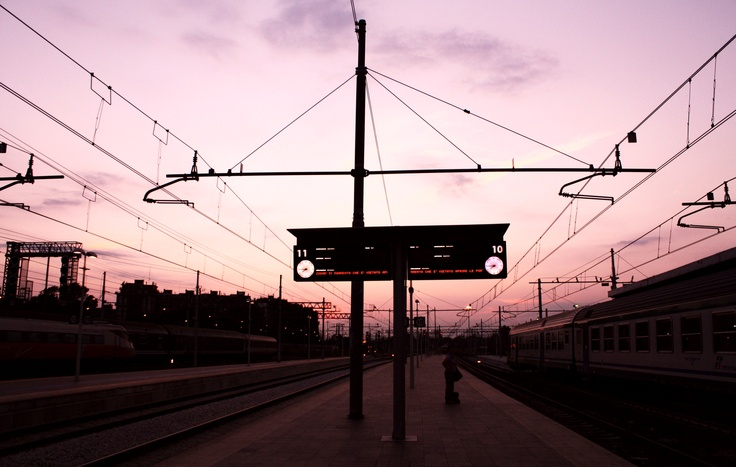Sunrise view from Ferrara train station,Italy.