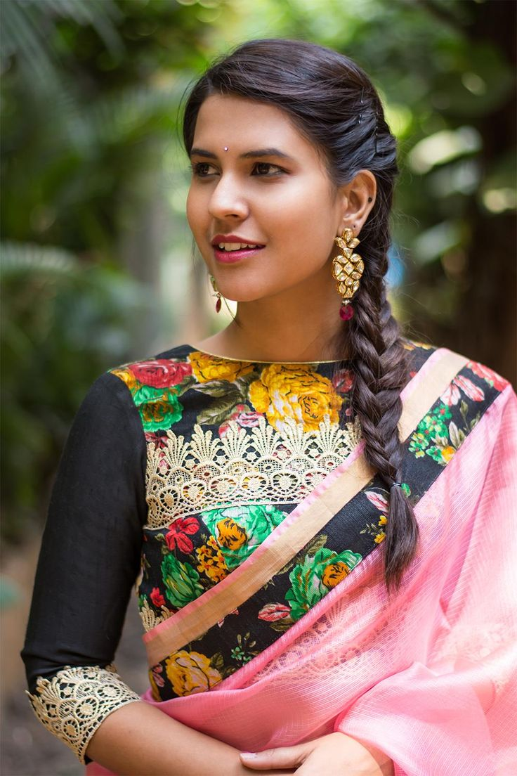 Black floral U neck blouse with gold lace details #blouse #saree #houseofblouse #desi #indianwear #black #floral #gold #lace