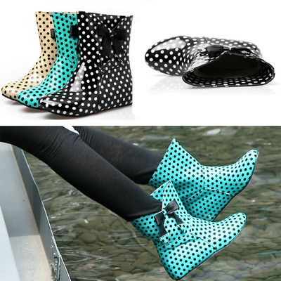 Womens Polka Dot Ankle Boots Hidden Wedge Bow Patent Leather Rain Boots