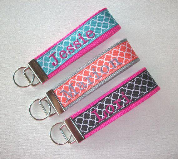 Key Fob Key FOB / KeyChain / Wristlet    Monogrammed  by Laa766, $10.00 preppy / fabric / cute / patterns / key chain / keychain / badge / key leash / gifts / under $10 / designer / car / school / key ring