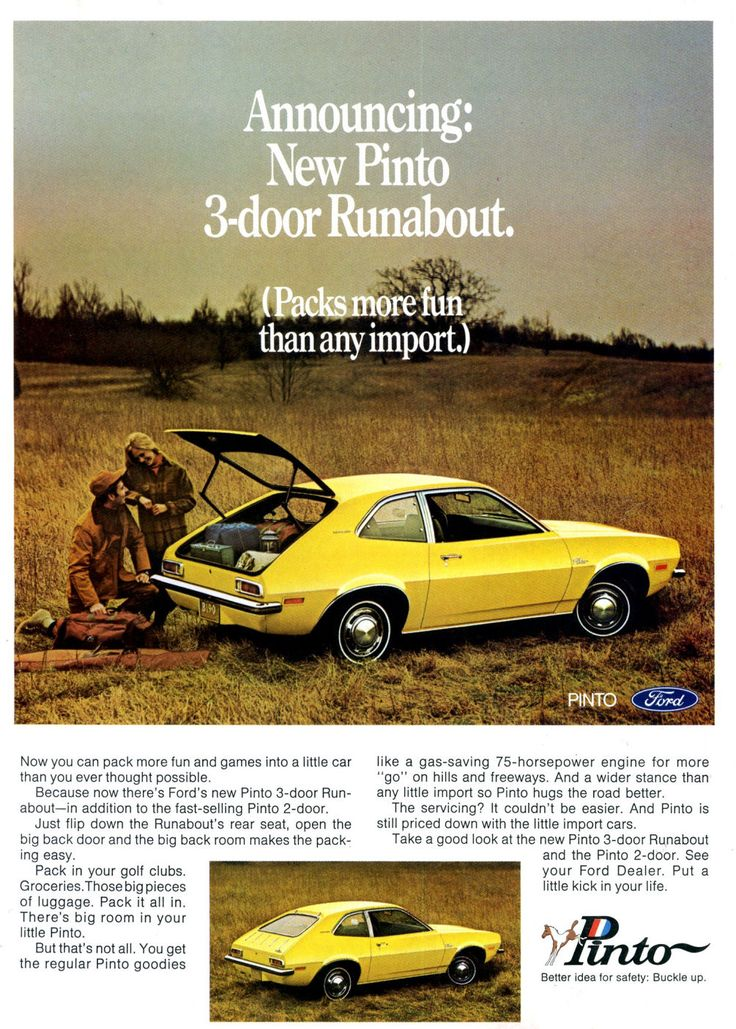 1971 Ford Pinto Three-Door Runabout.  Had one lime green with big wheels!