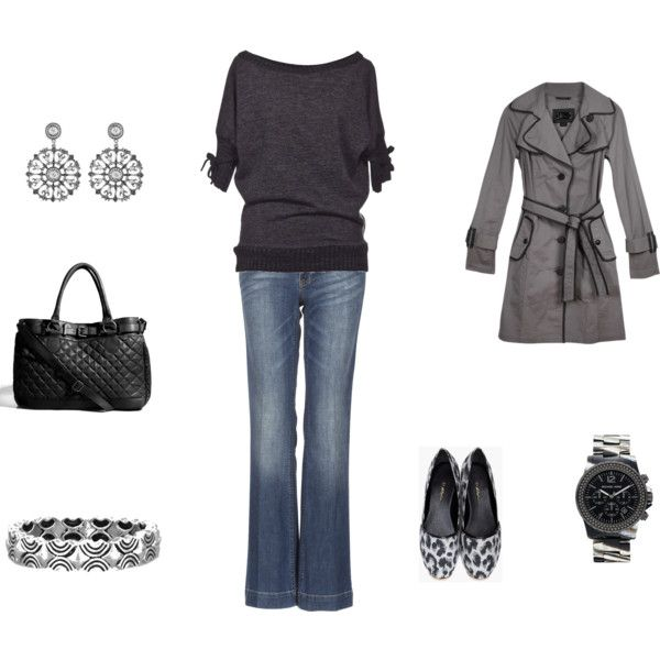 ♥♥♥Fall Looks, Winter Outfit, Gray T Shirts Outfit, Black Grey, Dates Night, Work Outfit, Cute Outfit, Silver Flats With Outfit, Dreams Closets