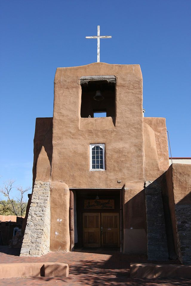 San Miguel Mission is a Spanish colonial mission church in Santa Fe, New Mexico. Built between approximately 1610 & 1626, it is claimed to be the oldest church in the USA. The church was damaged during the Pueblo Revolt of 1680 but was rebuilt in 1710 following the Spanish reconquest & served for a time as a chapel for the Spanish soldiers. The wooden reredos, which includes a wooden statue of Saint Michael dating back to at least 1709, was added in 1798