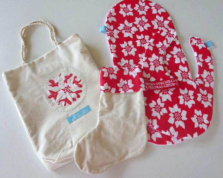 babys first christmas gift set. baby gift set. bib and burp cloth set. bib. burp cloth. gift bag. christmas stocking. unique gift set by BitsandBobs4Bubs on Etsy