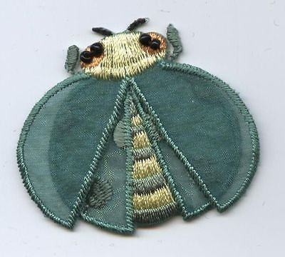 Iron On Embroidered Applique Patch Green/Yellow Ladybug Lady Bug Layered 153658B