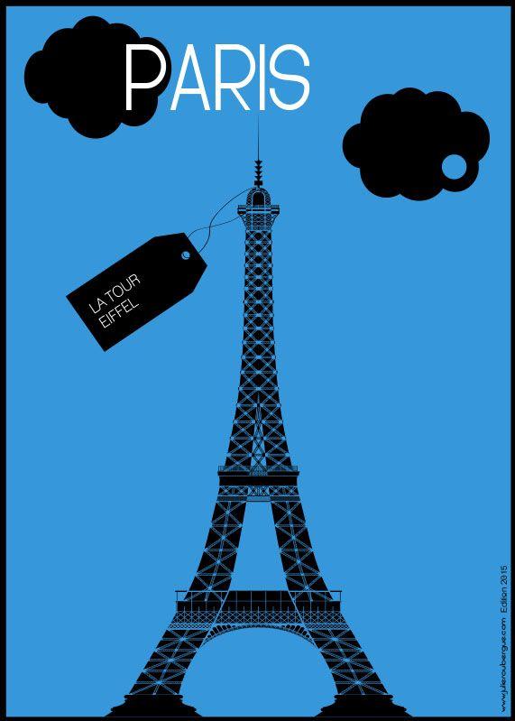 La Tour Eiffel Blue - Poster 50x70cm or 30x40cm