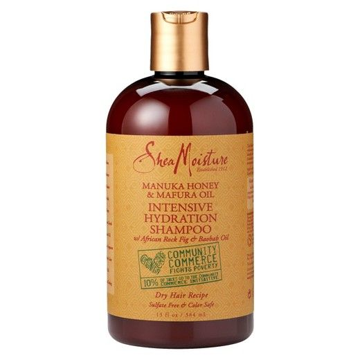 <p>SheaMoisture's Manuka Honey & Mafura Oil Intensive Hydration Shampoo cleanses while infusing hair with intensive moisture and shine-enhancing nutrients. Certified organic Shea Butter, Honey, Mafura and Baobab Oils are blended into a rich formulation of restorative oils to soften and revitalize hair. Antioxidant –rich African Rock Fig helps boost hydration while protecting distressed hair from environmental influences. Sulfate-free.<br &am...